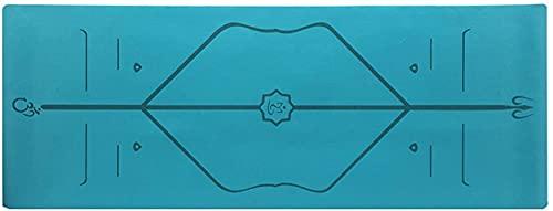 LSLS Esterilla De Yoga Estera de Ejercicios de Aptitud Plegable alfombras portátiles de Yoga portátil de 2.5mm de Goma Ultra Delgada de la Yoga Antideslizante Esterilla Fitness (Color : Blue)