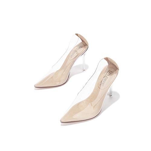 Cape Robbin Glass Doll Clear Stiletto High Heels for Women, Slip On Sexy Shoes with Pointed Toe - Nude Size 7.5