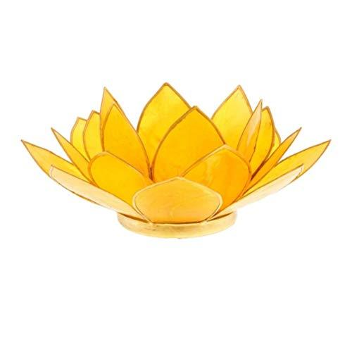 Porte Bougie Fleur de Lotus jaune et or 3 ème chakra