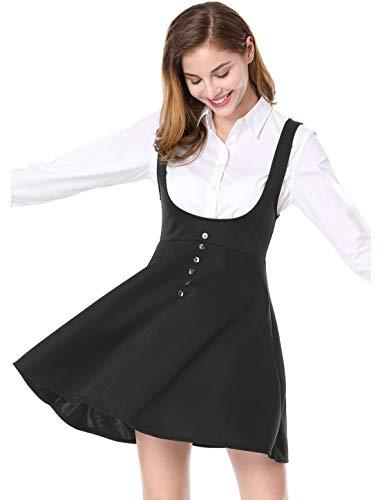 Allegra K Damen A Linie Button Dekor Träger Minikleid Kleid Schwarz L
