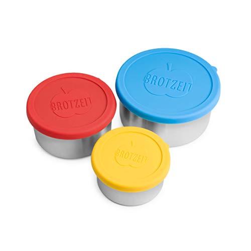 Brotzeit Lunchbox 3er Set mit Silikondeckel - 3-teilige Edelstahl Container - dicht verschliessbar