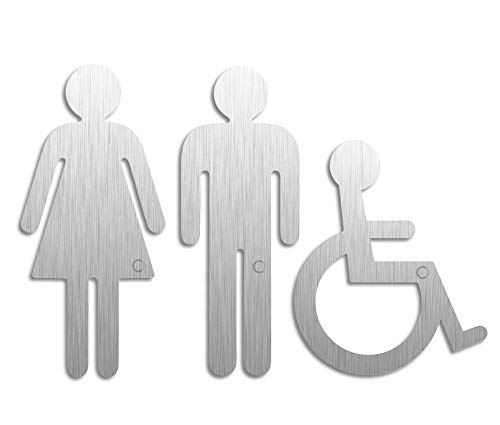 Toilettenschilder Damen - Herren - Rollstuhl | Picto 3er-Set | Piktogramme aus Edelstahl H=152 + 120 mm | Ofform Design Nr.1093