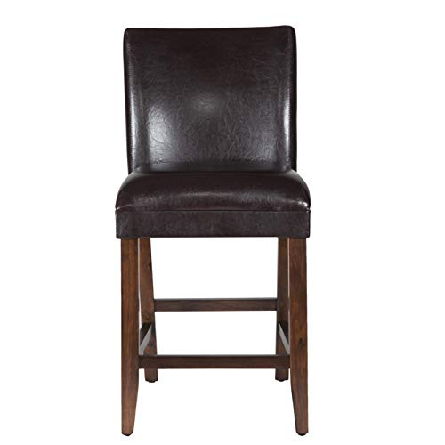 HomePop Parsons Leatherette Counter Height Chair 24-inch, Brown Faux Leather