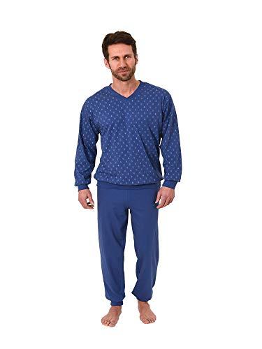 Herren Pyjama Schlafanzug Langarm mit Bündchen - V-Hals - 181 101 90 001, Größe2:58, Farbe:dunkelgrau