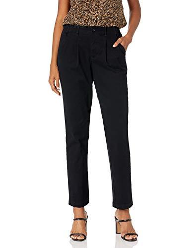 Gloria Vanderbilt Women's Size Rear Elastic High Waist Pleated Chino Pants, Black, 18 Plus Regular