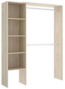 Miroytengo Vestidor Armario ropero Acabado Natural habitación Juvenil Infantil Suit Dormitorio 140x40x187 cm