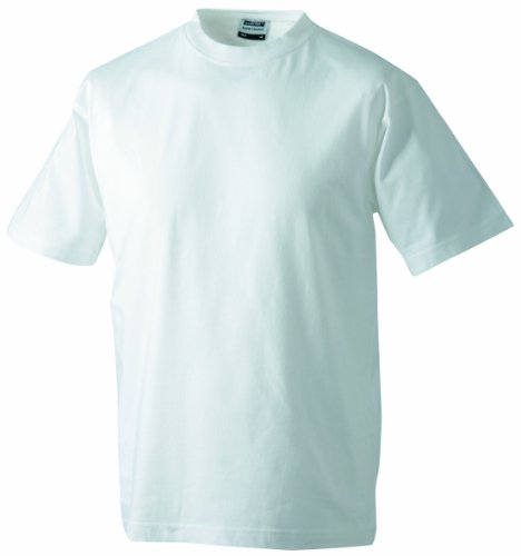 James & Nicholson Herren Round-T-Heavy T-Shirt, Weiß (white), Large