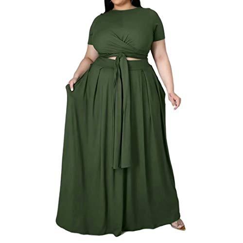 Plus Size 2pcs Solid Color Women Suits Wrapped Crop Top + Long Skirt Set Party Club Maxi Dress Green X-Large