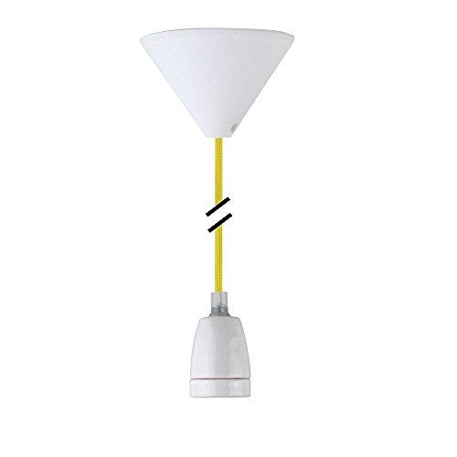 Design Lampadario a sospensione Tessile cavo E27, Portalampada in ceramica bianco & bianco a baldacchino moderno gelb