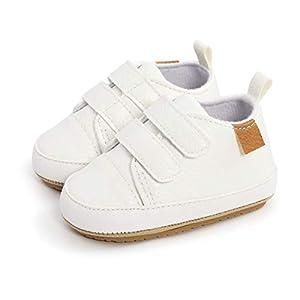 Zapatos Unisex Bebe Niño Niña Recién Nacido Primeros Pasos Zapatillas para Caminar para Bebé Suela Blanda Antideslizant (0-6 meses, blanco)