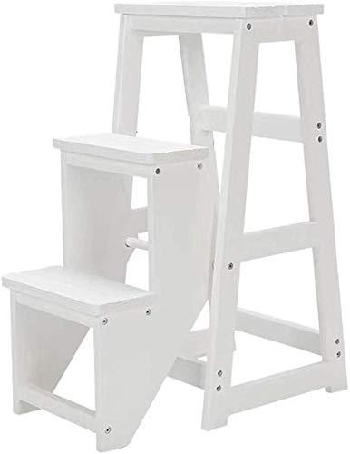 QTQZDD Houten pedaal kruk opstapkruk hoge stoel houten trap ladder massief hout klapbaar 3 trapladder verbrede veiligheidsschoen bank opslagrek keuken indoor asend Home 2 2
