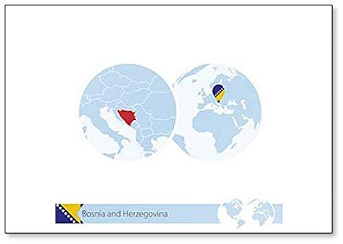 Kühlschrankmagnet mit Flagge & Landkarte auf der Weltkugel mit Flagge & Landkarte – klassischer Kühlschrankmagnet