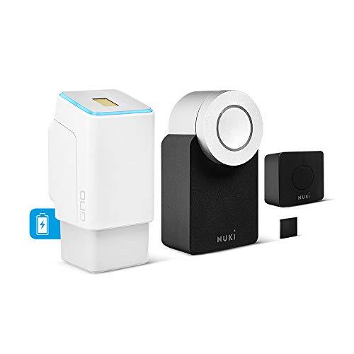 ekey uno Fingerprint con batería y radiocontrol, incluye Nuki Combo 2.0 (Smart Lock + Bridge) – Juego de reequipamiento alimentado por batería para todo tipo de puertas