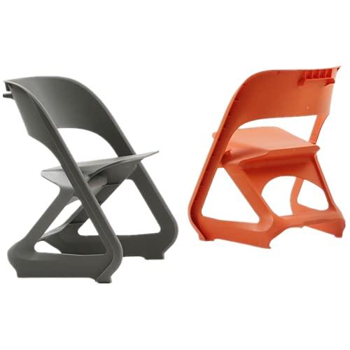 Gartenstuhl Aus Kunststoff   4 Wetterbeständiger Stapelstuhl(2 Orange +2 Grau),Balkonmöbel für Terrasse oder...