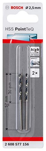 Bosch Professional 2 brocas helicoidal HSS PointTeQ, para metal, 2.5 x 30 x 57mm, accesorio de taladro