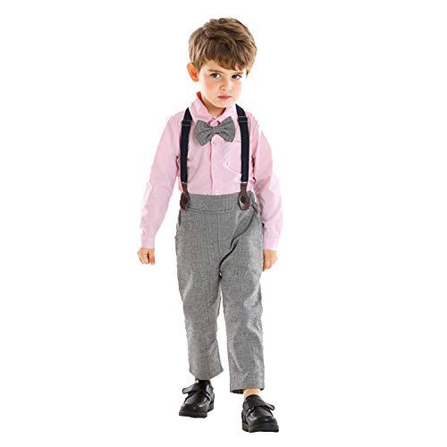 YWLINK Conjunto De Caballero BebéS NiñO Mono De Camisa Parte Superior De Color Liso Pajarita Mameluco+Pantalones Con Peto Vestido De Informal/Fiesta De Bautizo/Fiesta De Bodas/Regalo De CumpleañOs