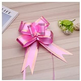 R.S.Collection 10 Bow 18mm Pull Bow Striped Ribbon String with 30cm Long Tulle Tails, Wedding Party, Bridal Gift Wrap, Wra...