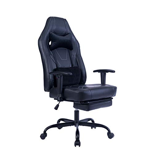 Blue Whale Gaming Chair with Adjustable Lumbar and Retractable Footrest