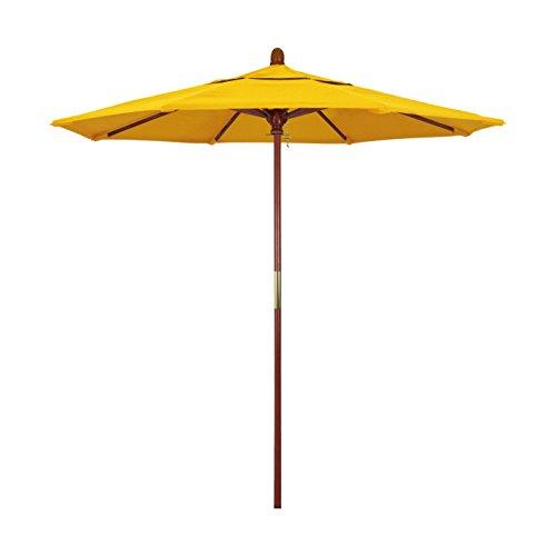 California Umbrella 7.5' Round Hardwood Frame Market Umbrella, Stainless Steel Hardware, Push Open, Olefin Lemon