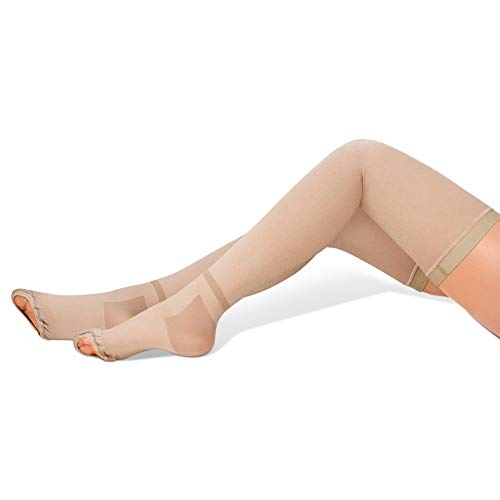 GILLYA T.e.d. Anti Embolism Stockings Thigh High, White TED Stockings for Women Men, 15-20 mmhg Compression TED Hose with Inspect Toe Hole (Beige, M)