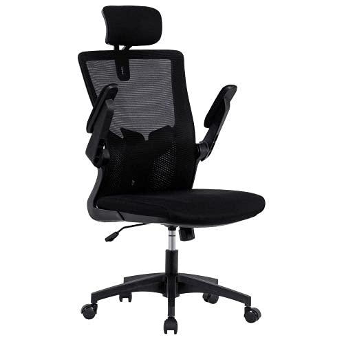 Silla de oficina MATREX de malla con reposacabezas ajustable, apoyabrazos y soporte lumbar, respaldo alto de malla para computadora, silla de escritorio, color negro