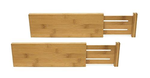 Lipper International 8895 Bamboo Wood Custom Fit Adjustable Dresser Drawer Dividers, Set of 2