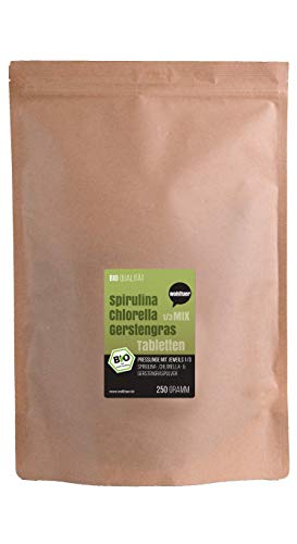 Wohltuer Spirulina + Chlorella + Gerstengras 1/3 Mix | Bio Algen Superfood Mix Tabletten in Rohkostqualität 250g