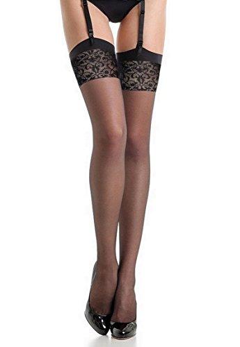 Fiore - Bas nylon noir à couture 20d pour Porte-Jarretelles (3, Noir)