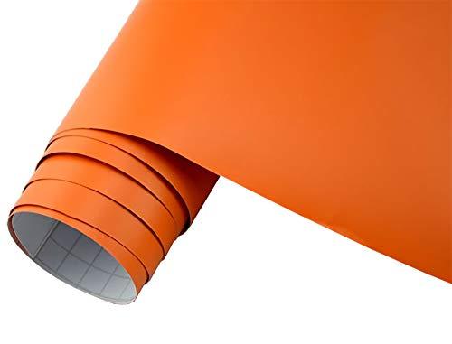Neoxxim 5€/m2 Auto Folie matt - orange matt 50 x 150 cm Klebefolie Dekor Folie dehnbar auch für Möbel