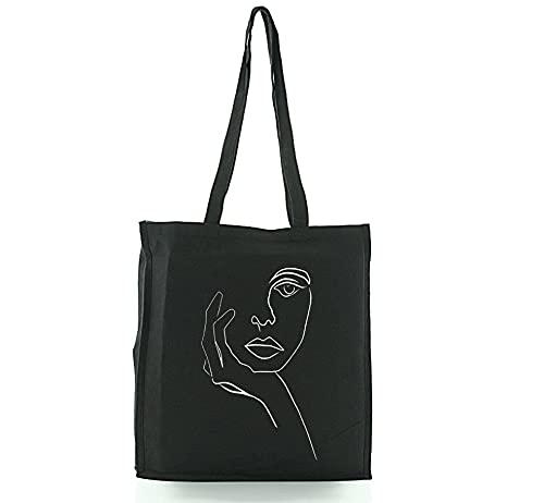 Hole Gadget S.r.l Bolsa de compras negra de algodón muy pesada con serigrafía artesanal y fuelle Tote Bag de alta calidad, 38 x 42 x 8 cm