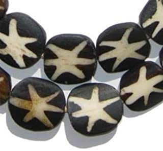 Batik Bone Beads - Full Strand of Fair Trade African Beads - The Bead Chest (Circular, Star Design)