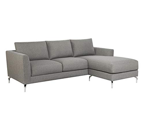 Rivet Emerly Modern Sectional with Chaise, 96'W, Steel Grey