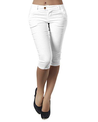 Minetom Damen Sommer Leicht 3/4 Länge Capri Hose Baggyhose Chino Hose Lässig Damenhosen Stoffhose Freizeithose Ohne Gürtel A Weiß S