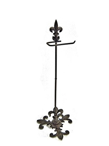 Standing Fleur De Lys Cast Iron Toilet Paper Holder Portable