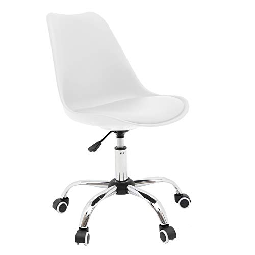 Armless Desk Chair Home Office Chair, Ergonomic Computer Chair with Cushion and Wheels, Conference Room Task Chair 360° Swivel Desk Chairs