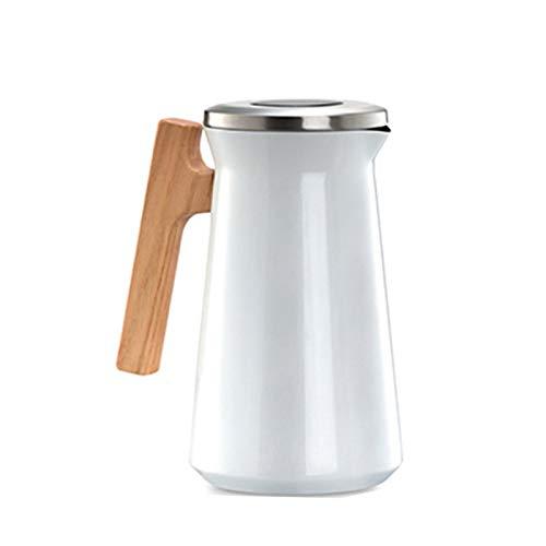 zyy Jarra Térmica Cafe 1 Litro de Acero Inoxidable Termo Jarras para El té Y El Café Aislado Termo Jarra Botella de Agua Caliente con Botón de Presión Superior (Color : White)