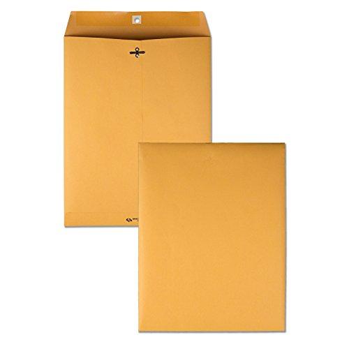 Quality Park 10 x 13 Clasp Envelopes, Gummed, Moisture-Activated Adhesive for Permanent Secure Seal, 28 lb Paper, Brown Kraft, 100/Box (QUA37897)