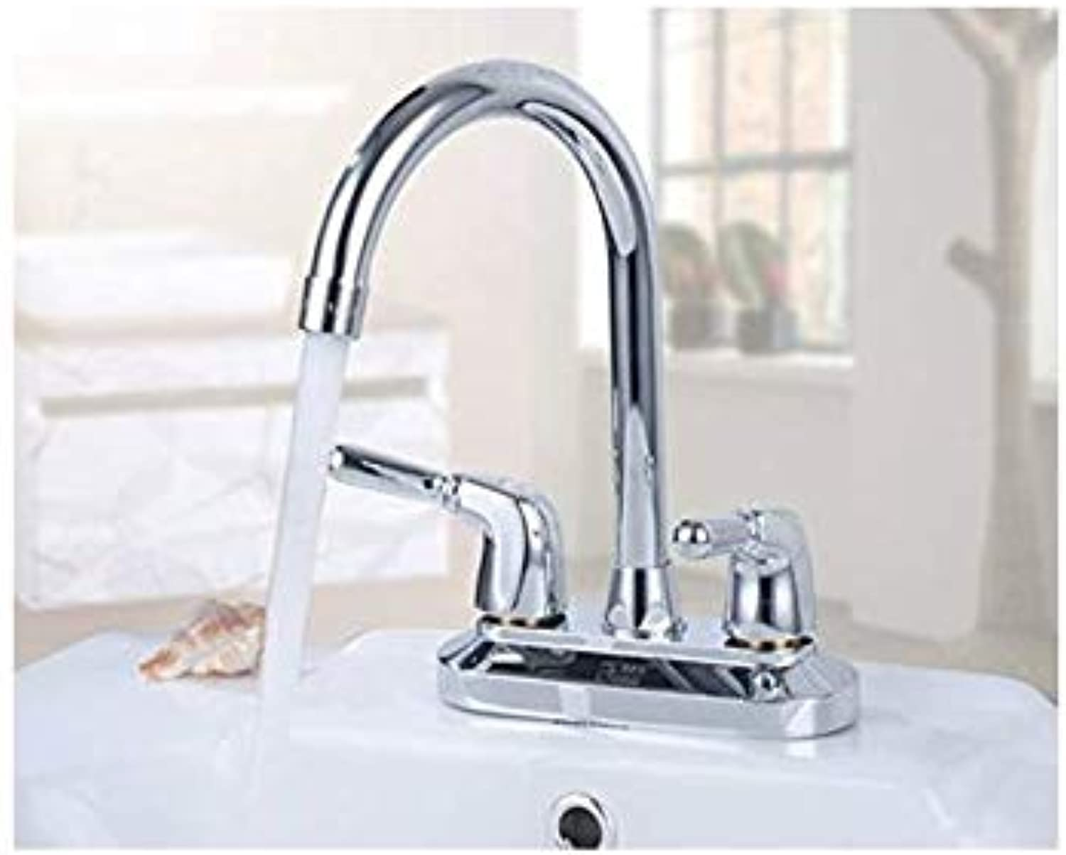Faucet Hot and Cold Washroom Washbasin, Basin Faucet, Double Double Hole Basin Basin Faucet Thickened Copper Tap,A