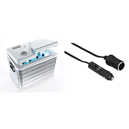 Mobicool Q40 AC/DC - Tragbare Elektrische Alu-Kühlbox, 39 Liter, 12 V und 230 V & Hama KFZ Verlängerungskabel für Zigarettenanzünder Buchse, 6m