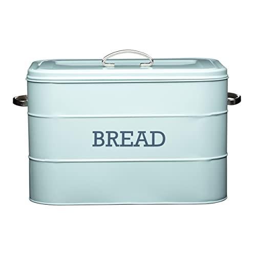 Kitchencraft Living Nostalgia Large Metal Bread Box Bin, Blue