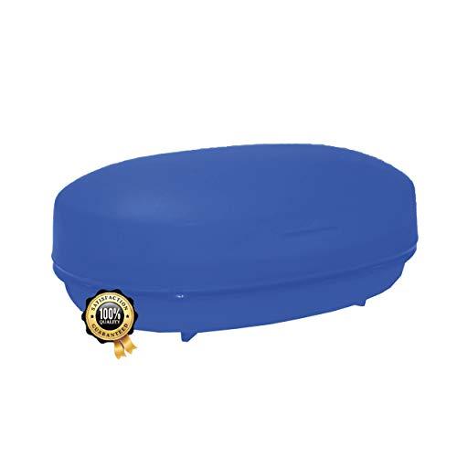 Seifenschale Kunststoff | Premium Seifenhalter Blau | Seifenablage aus Kunststoff mit Ablauf | Ideale Aufbewahrung für Seife & Seifenstücke im Bad Dusche Badewanne uvm | Seifendose Seifenbox