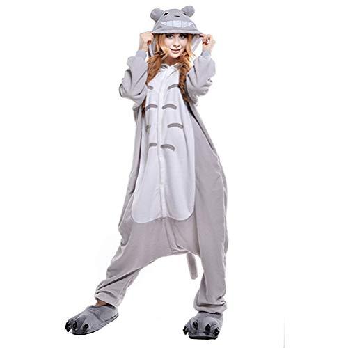 KKCF Totoro Pijamas de Cosplay del Traje Onesies cómodo Forro Polar y una Sola Pieza Flojo Pijamas de Halloween Cosplay para Las Mujeres de los Hombres,M
