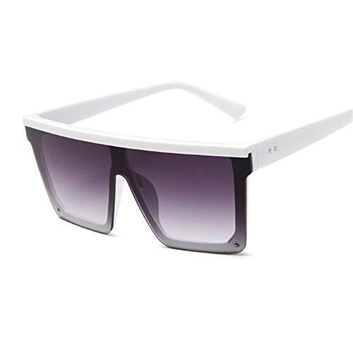 POPshawn Arbeiten Sie Neue Art Schwarze Quadrat Sonnenbrille, Damen großen Rahmen und weise Retro- Spiegel-Sonnenbrille, weibliche Marke Damen, Schutzbrillen (Lenses Color : WhiteDoubleGray)
