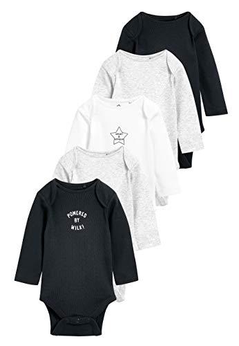 next Baby - Jungen Gerippte Bodysuits mit Slogan im 5er-Pack Grau/Kohle 1.5-2 Jahre