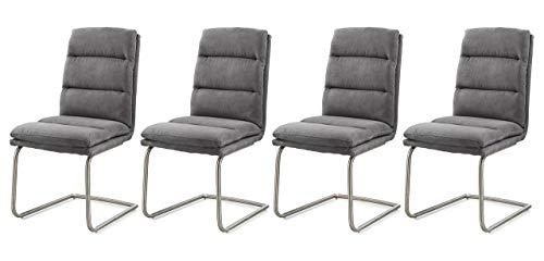 lifestyle4living Stuhl in Microfaser Anthrazit, Designer Schwingstühle im 4er Set, hochwertige Polsterung für einen bequemen Sitz, Gestell...