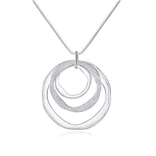 ZIYUYANG Collar colgante, anillo de plata esterlina colgante collar moda dama joyería LightYellowGoldColor