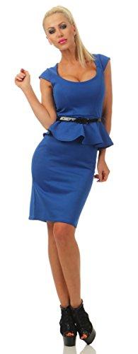 Fashion4Young 4234 Damen Minikleid Party Kleid m. Gürtel Schößchen Bodycon Knielang Slimline Dress (blau, S-36)
