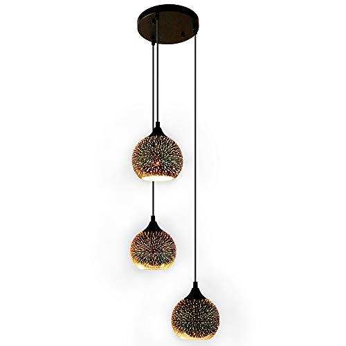 Newrays 3 teste moderno vetro colorato fuochi d'artificio colorato lampada a sospensione creativa con paralume da 14.5 cm