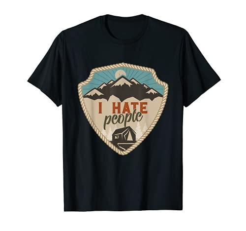 ich hasse menschen I Hate People Berge Wanderer Geschenk T-Shirt