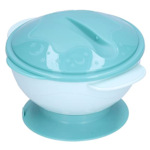 Cuenco de succión para bebés, cuenco de succión de alimentación para niños pequeños, cuencos portátiles de silicona para bebés, cuenco lavable para niños pequeños con cuchara de tapa para(green)